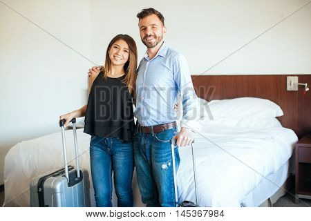 Newlyweds Arriving To Their Hotel Room