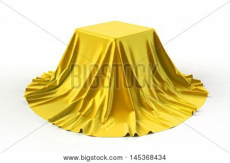 Box covered with yellow fabric. Isolated on white background. Award prize presentation concept. Showroom stand. Reveal a hidden object. Raise the curtain. Photo realistic 3d illustration