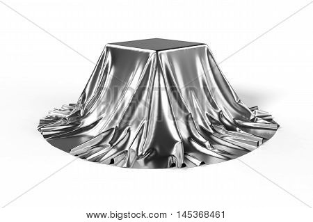 Box covered with silver fabric. Isolated on white background. Surprise award prize presentation concept. Showroom stand. Reveal a hidden object. Raise the curtain. Photo realistic 3d illustration