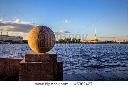 spit of Vasilevsky Island, sphere, river Neva