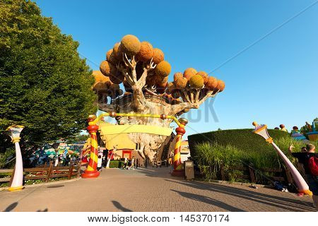 CASTELNUOVO DEL GARDA VERONA ITALY - AUGUST 28 2016: The famous theme park of Gardaland in Castelnuovo del Garda Verona Italy