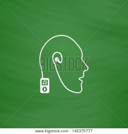 Favorite music Simple line vector button. Imitation draw with white chalk on blackboard. Flat Pictogram and School board background. Outine illustration icon