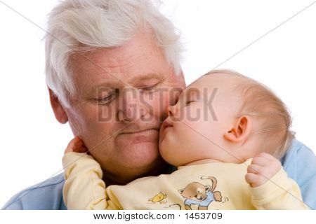 Sleepy Toddler With Grandfather