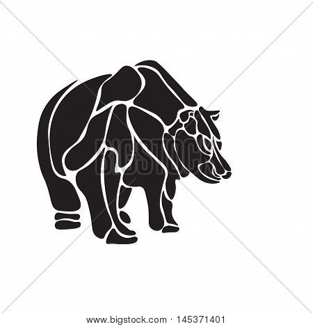 Illustration black and white engrave isolated vector bear