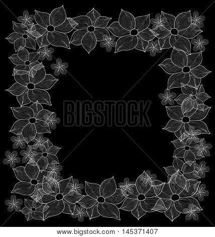 Vector decorative floral frame made of spring flowers