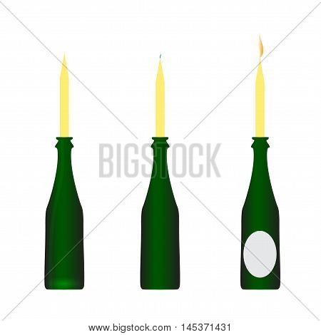 Bottle of wine with candles candlestick vector illustration