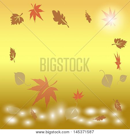 autumn leaves falling into the water at sunrise Vector  Eps 10