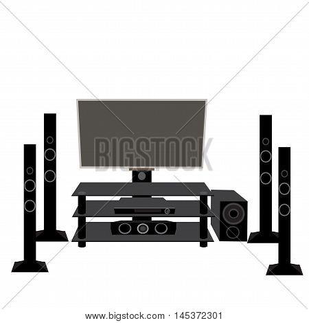 Set HI-FI consumer electronics: TV and audio equipment 5.1 vector illustration