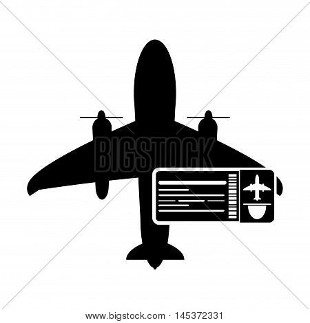 flat design airplane and boarding pass icon vector illustration