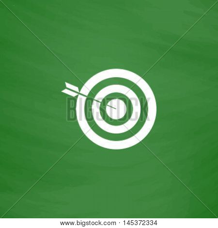 bullseye Simple line vector button. Imitation draw with white chalk on blackboard. Flat Pictogram and School board background. Outine illustration icon