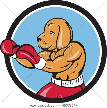 Illustration of a dog boxer in a fighting stance viewed from the side set inside circle on isolated background done in cartoon style.