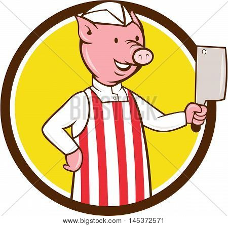 Illustration of a butcher pig holding meat cleaver viewed from front set inside circle on isolated background done in cartoon style.