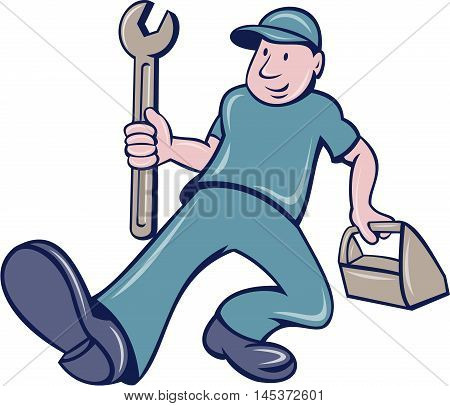 Illustration of a mechanic holding spanner and toolbox putting foot forward viewed from front set on isolated white background done in cartoon style.