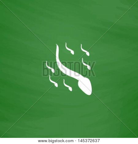 spermatozoon Simple line vector button. Imitation draw with white chalk on blackboard. Flat Pictogram and School board background. Outine illustration icon