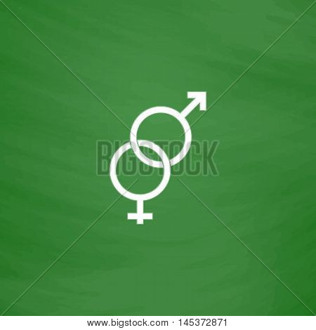 Gender Simple line vector button. Imitation draw with white chalk on blackboard. Flat Pictogram and School board background. Outine illustration icon
