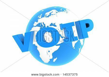 VoIP auf der ganzen Welt - glänzend blau