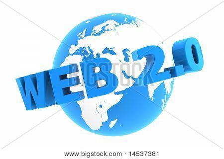 Web 2.0 Around The World - Glossy Blue