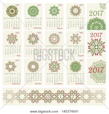 2017 Calendar with ethnic round ornament pattern in red and green colors Vector illustration. From collection of Balto-Slavic ornaments