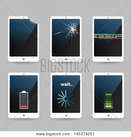 Broken mobile phones with problem. Cracked screen damaged phones softwear problem and weaked battery. Vector illustration.