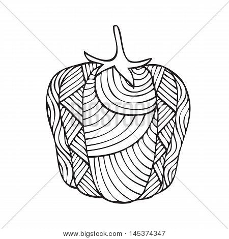 Adult coloring book page design with a picture of a pepper. Coloring book page for adult. Vector illustration in the style of zentangle, doodle, ethnic, tribal design.