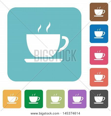 Flat coffee icons on rounded square color backgrounds.