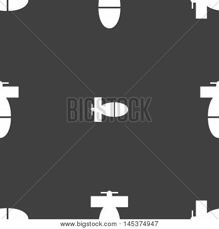 Mortar Mine Icon Sign. Seamless Pattern On A Gray Background. Vector