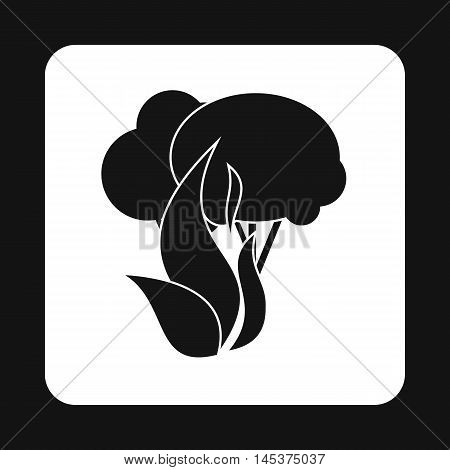 Fire in woods icon in simple style isolated on white background. Danger symbol
