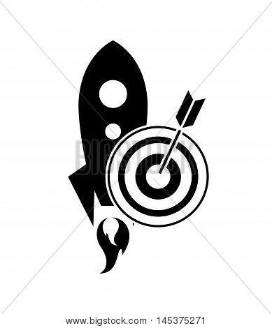 flat design rocket and bullseye icon vector illustration