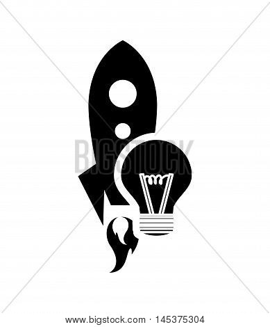 flat design rocket and lightbulb icon vector illustration