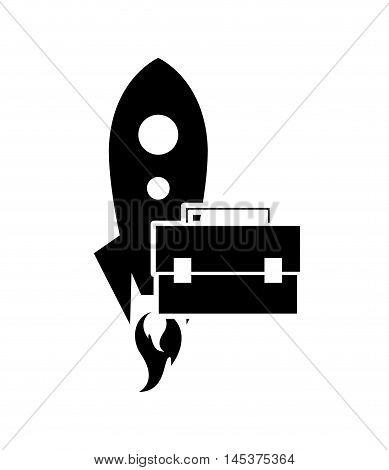 flat design rocket and briefcase icon vector illustration