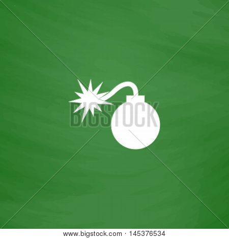 Bomb Simple line vector button. Imitation draw with white chalk on blackboard. Flat Pictogram and School board background. Outine illustration icon