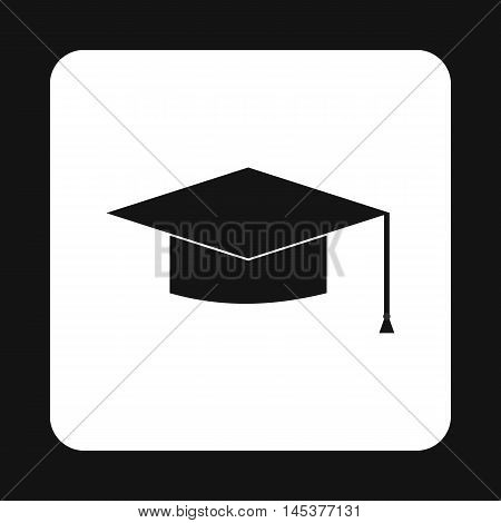 Hat student icon in simple style isolated on white background. Headwear symbol