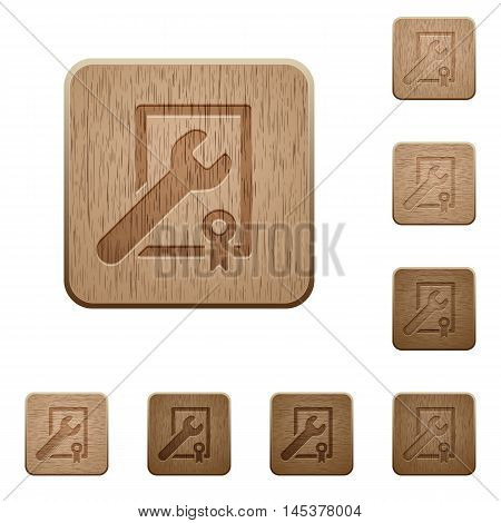 Set of carved wooden Award winning support buttons in 8 variations.