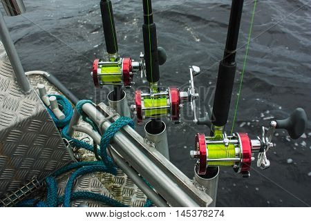 Fishing Rods And Reels With Yellow Fishing Line