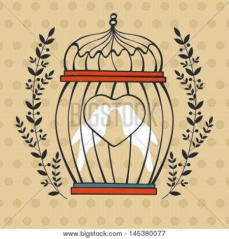Beautiful card with birds in cage. Illustration in vector format