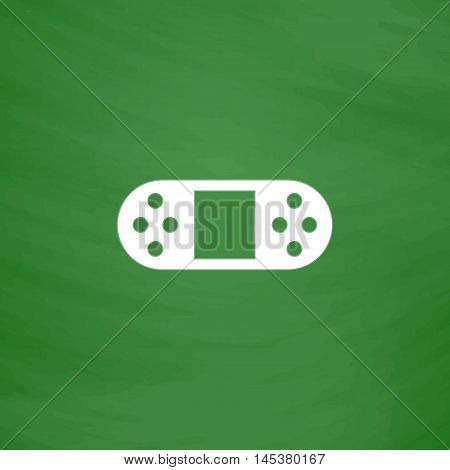Game Console Simple line vector button. Imitation draw with white chalk on blackboard. Flat Pictogram and School board background. Outine illustration icon