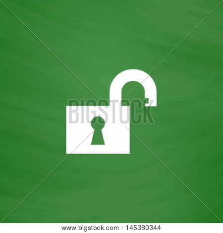 Open padlock Simple line vector button. Imitation draw with white chalk on blackboard. Flat Pictogram and School board background. Outine illustration icon