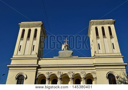 Facade details of Lutheran Church of Apostles Peter and Paul in Saint-Petersburg Russia - architecture closeup view