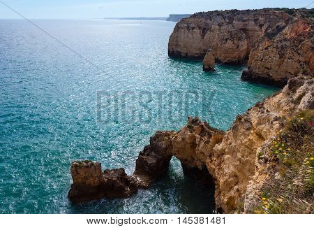 Atlantic Rocky Coastline (ponta Da Piedade, Lagos, Algarve, Portugal).