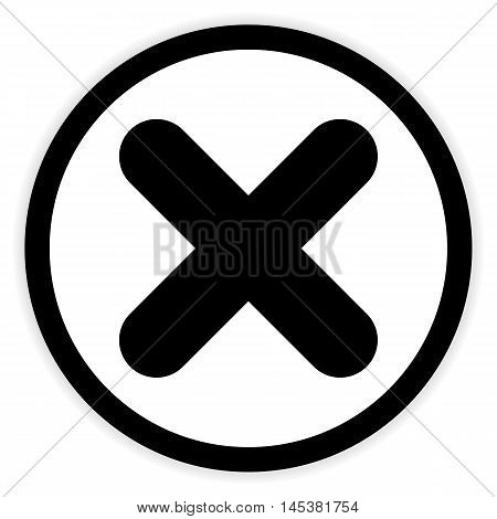 Delete button on white background. Vector illustration.
