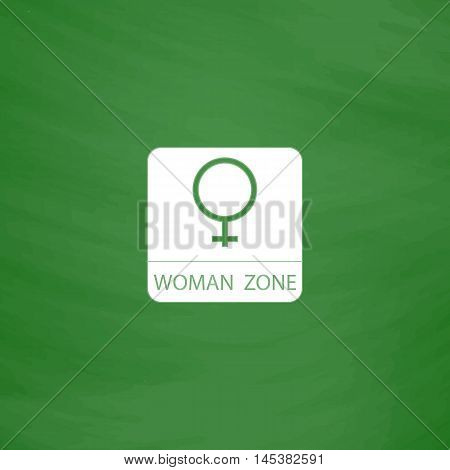 women gender Simple line vector button. Imitation draw with white chalk on blackboard. Flat Pictogram and School board background. Outine illustration icon