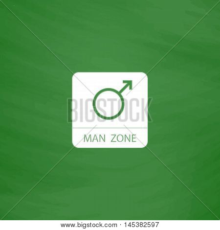 man gender Simple line vector button. Imitation draw with white chalk on blackboard. Flat Pictogram and School board background. Outine illustration icon