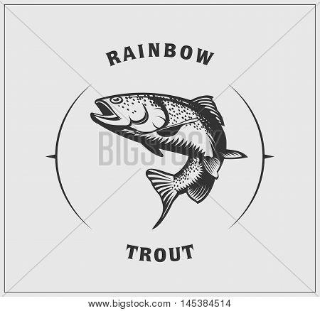 Vector monochrome Illustration of rainbow trout label.