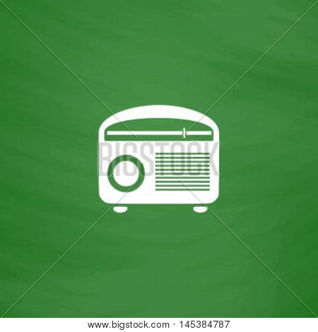 retro radio Simple line vector button. Imitation draw with white chalk on blackboard. Flat Pictogram and School board background. Outine illustration icon