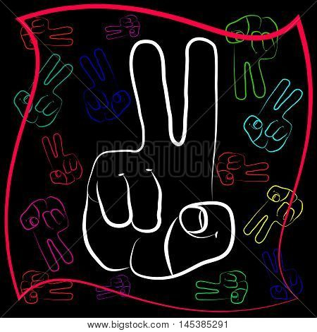 The gesture of the hand with outstretched with two fingers. Symbol gesture victory in different design and color scheme.