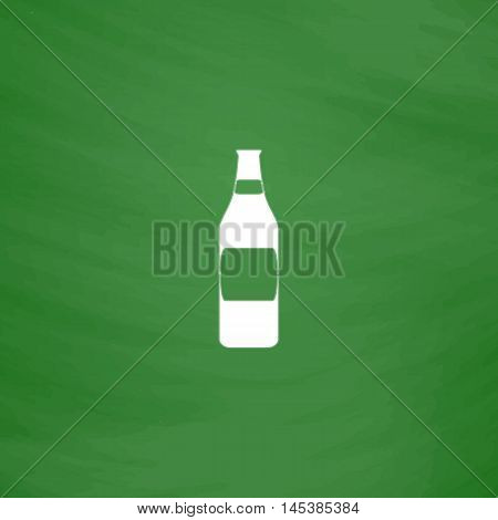 Bottle Simple line vector button. Imitation draw with white chalk on blackboard. Flat Pictogram and School board background. Outine illustration icon