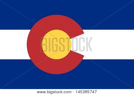 Flag of the US state of Colorado in correct size proportions and colors. Accurate dimensions. Colorado official symbol. American patriotic element. USA banner. United States of America background. Vector illustration