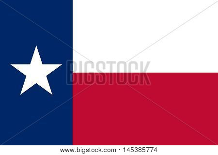 Flag of the US state of Texas in correct size proportions and colors. Accurate dimensions. Texan official symbol. American patriotic element. USA banner. United States of America background. Vector illustration