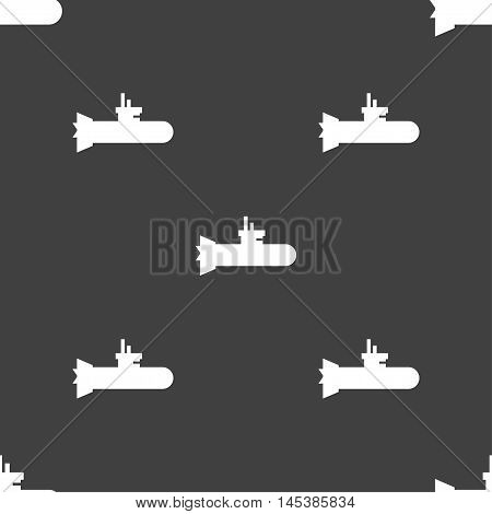 Submarine Icon Sign. Seamless Pattern On A Gray Background. Vector