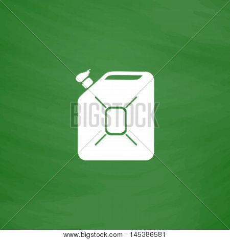 Jerrycan oil Simple line vector button. Imitation draw with white chalk on blackboard. Flat Pictogram and School board background. Outine illustration icon